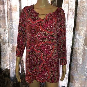 Paisley blouse long sleeve Charter Club EUC XL